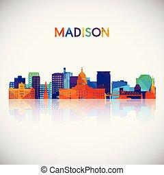madison, silueta, coloridos, skyline, geomã©´ricas, style.