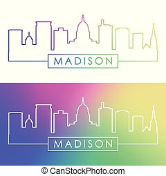 Madison skyline. Colorful linear style. Editable vector file...
