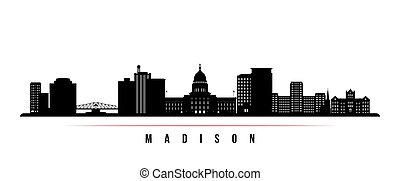 Madison skyline horizontal banner. Black and white ...