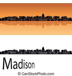 Madison skyline in orange background in editable vector file