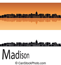 Madison skyline in orange background in editable vector file