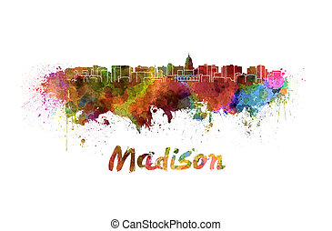 Madison skyline in watercolor splatters with clipping path