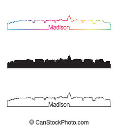 Madison skyline linear style with rainbow