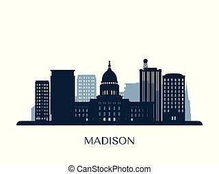 Madison skyline, monochrome silhouette. Vector illustration.