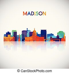 Madison skyline silhouette in colorful geometric style. ...