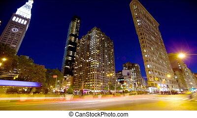 Madison Square at dusk timelapse, New York City