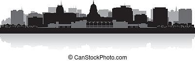 madison, stad skyline, silhouette