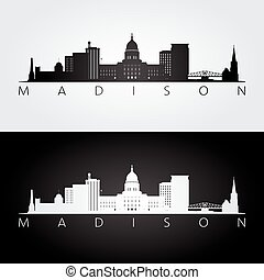 Madison USA skyline and landmarks silhouette, black and ...