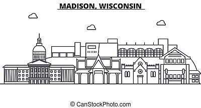 Madison, Wisconsin architecture line skyline illustration. ...
