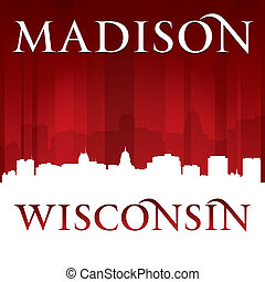 Madison Wisconsin city silhouette red background - Madison ...