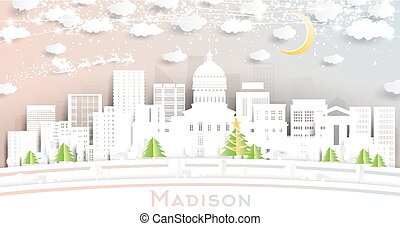 Madison Wisconsin City Skyline in Paper Cut Style with Snowflakes, Moon and Neon Garland.