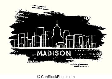 Madison Wisconsin City Skyline Silhouette. Hand Drawn Sketch...