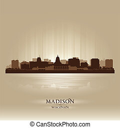Madison, Wisconsin skyline city silhouette