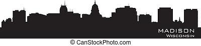 Madison, Wisconsin skyline. Detailed city silhouette. Vector illustration