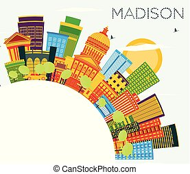 Madison Wisconsin Skyline with Color Buildings, Blue Sky and...