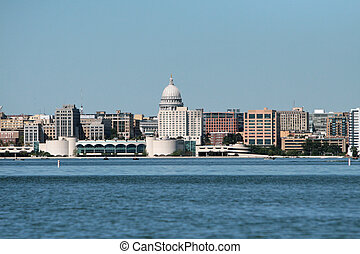Madison Wisconsin State Capital - Water view of the State...