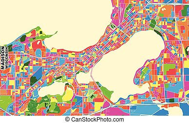 Madison, Wisconsin, U.S.A., colorful vector map - Colorful ...