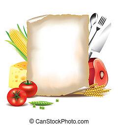 madlavning, baggrund, mad, ingredienser, og, avis