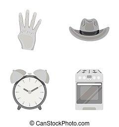 madlavning, sæt, iconerne, collection., textiles, omsætning, firma, hygiejne, anden, handel, monochrome, cartoon, style., ikon