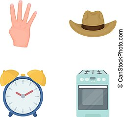 madlavning, væv, sæt, textiles, collection., iconerne, omsætning, firma, hygiejne, anden, handel, cartoon, style., ikon