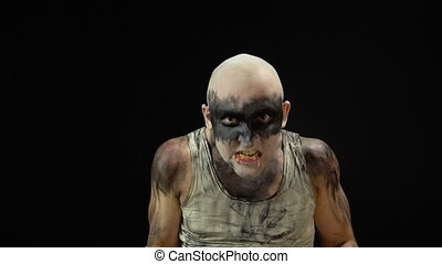 Madness man eating larvae - Footage of eating maggots man on...