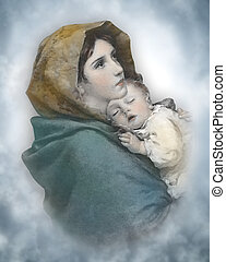 The blessed mother Mary holding the Christ child Jesus. Christmas nativity watercolor. Artistic interpretation of an old classic.