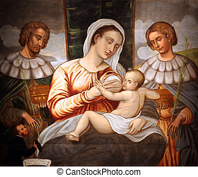 Madonna and Child - Madonna and Child, Saint Cosmas and...