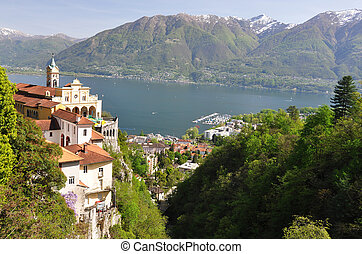 Madonna del Sasso, medieval monastery on the rock overlook ...