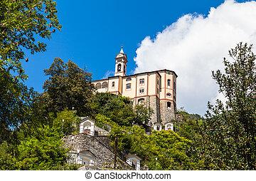 Madonna del Sasso pilgrimage church above Locarno city and the Maggiore lake in Ticino, Switzerland