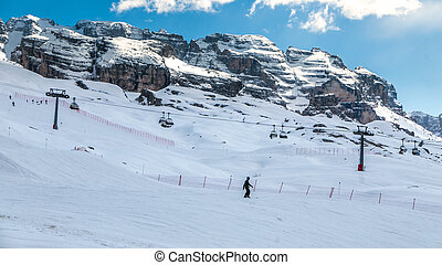 Madonna di Campiglio, Italy - April 24th, 2017: Man skiing from