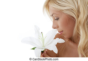madonna lily blond - pretty lady with madonna lily over...