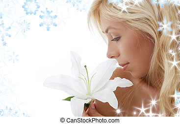 madonna lily blonde - pretty lady with madonna lily and...