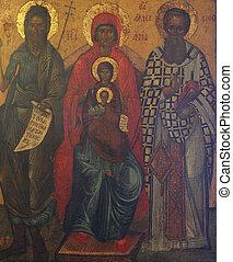madonna, met kind, jesus, en, heiligen