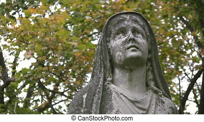 Madonna. Two shots. - Statue of a Madonna in a cemetery...