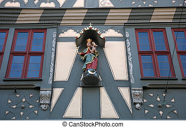 Madonna with child Jesus, Statue on the main street of Miltenberg in Lower Franconia, Bavaria, Germany
