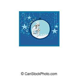 madonna y niño, jesús, en, transparente, pelota, ahorcadura, resumen, plano de fondo
