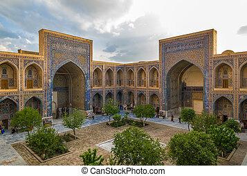madrasah, mendigue, uzbekistán, samarkand, ulugh, registan