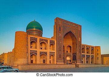 Madrasah Mir-i Arab at sunset, Bukhara, Uzbekistan