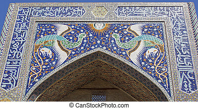 Madrassa, Bukhara, Uzbekistan - Close-up to the iwan of...