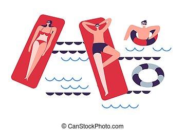 madrasser, eller, simning, hav, lifebuoys, slå samman, familj, uppblåsbar
