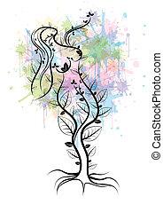 madre, árbol, naturaleza