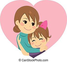 madre, abbracciare, figlia