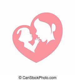 madre, abrazar a un bebé, en, corazón formó, silueta