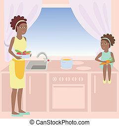 madre, africano, figlia