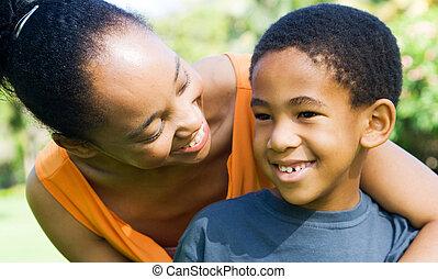 madre, africano, figlio