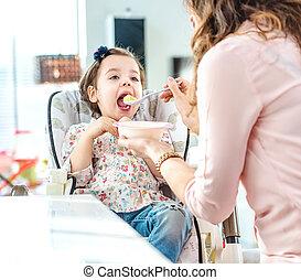 madre, alimentación, ella, amado, niño