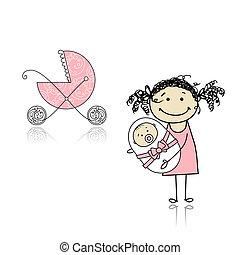 madre, ambulante, con, calesa, bebé recién nacido