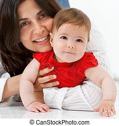 madre, arriba, girl., retrato, bebé, cierre