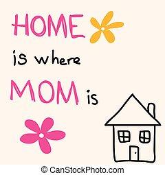 madre, augurio, mano, day., is., mamma, casa, disegnato, dove, scheda