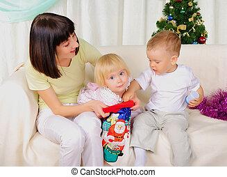 madre, bambini, due, lei, giovane